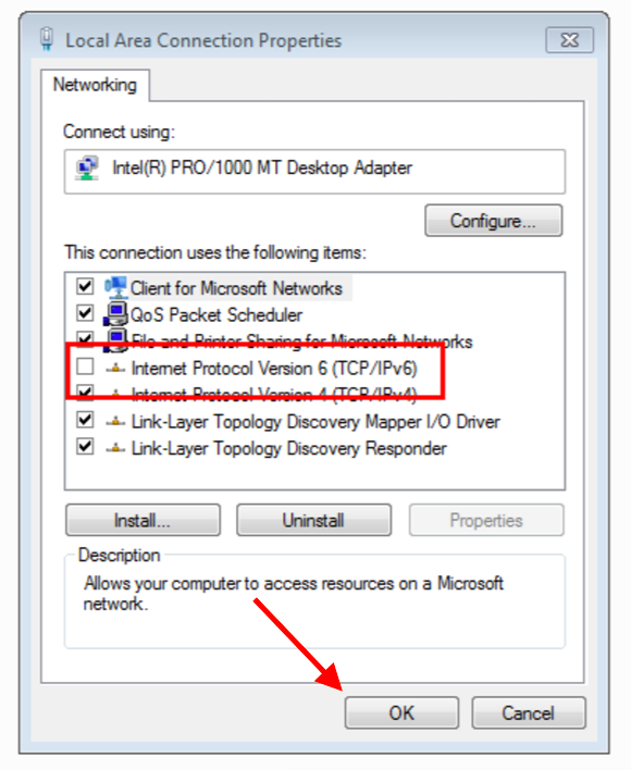 How to disable IPv6 Windows